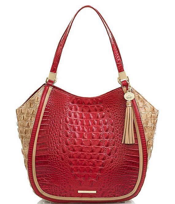 BRAHMIN Fuego Collection Marianna Crocodile-Embossed Tote Bag