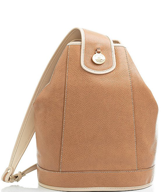 Color:Fawn - Image 1 - Henderson Collection Allie Smooth Leather Sling Backpack
