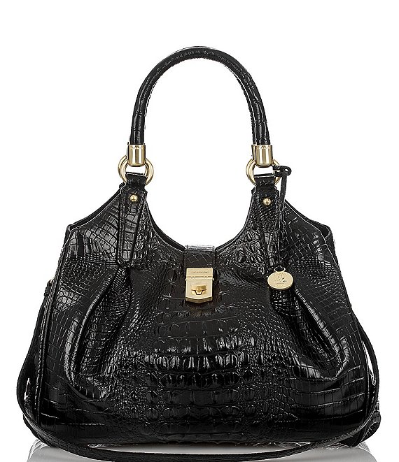 Color:Black - Image 1 - Melbourne Collection Elisa Crocodile-Embossed Hobo Bag