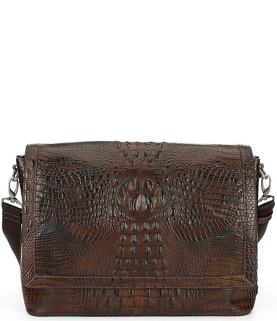 Color:Cocoa Brown - Image 1 - Mason Crocodile-Embossed Messenger Bag