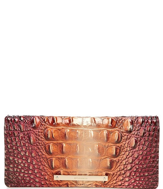 Color:Sunset - Image 1 - Melbourne Collection Ady Crocodile-Embossed Wallet