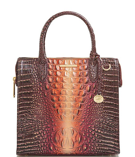 Color:Sunset - Image 1 - Melbourne Collection Caroline Crocodile-Embossed Satchel Bag