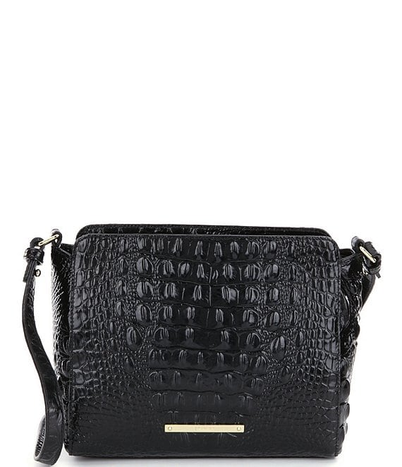 Color:Black - Image 1 - Melbourne Collection Carrie Crocodile-Embossed Crossbody Bag