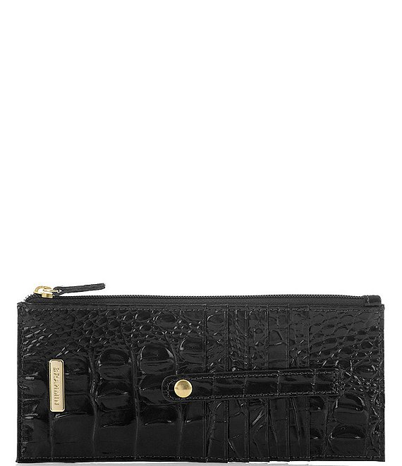 Color:Black - Image 1 - Melbourne Collection Leather Crocodile-Embossed Wallet