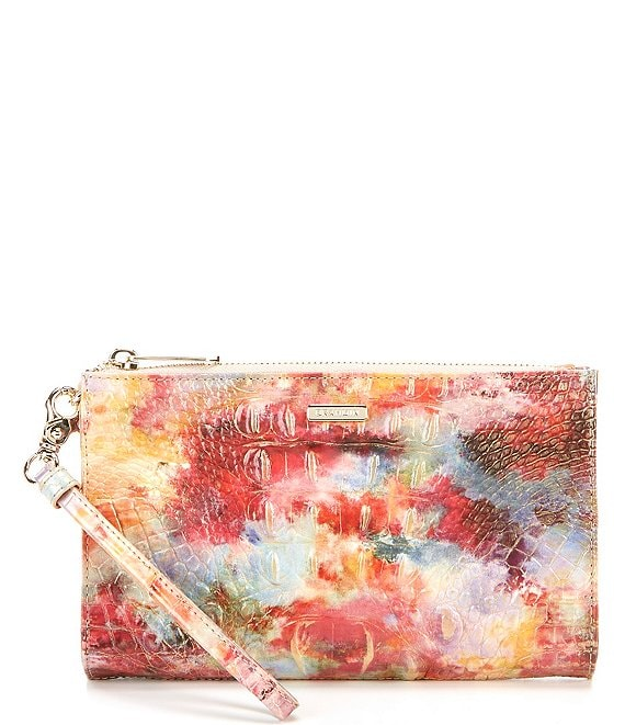 Color:Candy - Image 1 - Melbourne Collection Crocodile-Embossed Daisy Wristlet