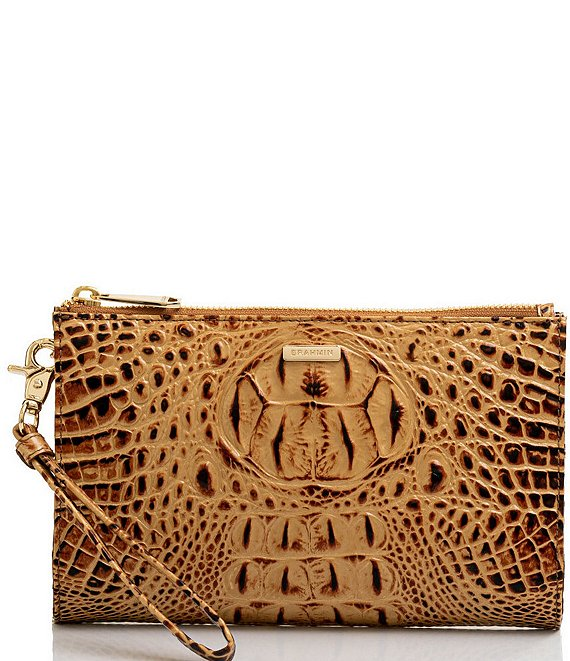 BRAHMIN Melbourne Collection Daisy Zip Top Crocodile-Embossed Wristlet
