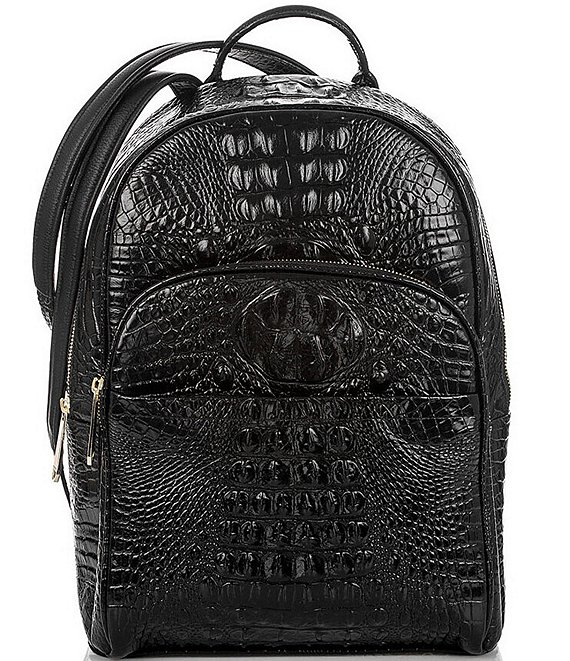 Color:Black - Image 1 - Melbourne Collection Dartmouth Crocodile-Embossed Backpack