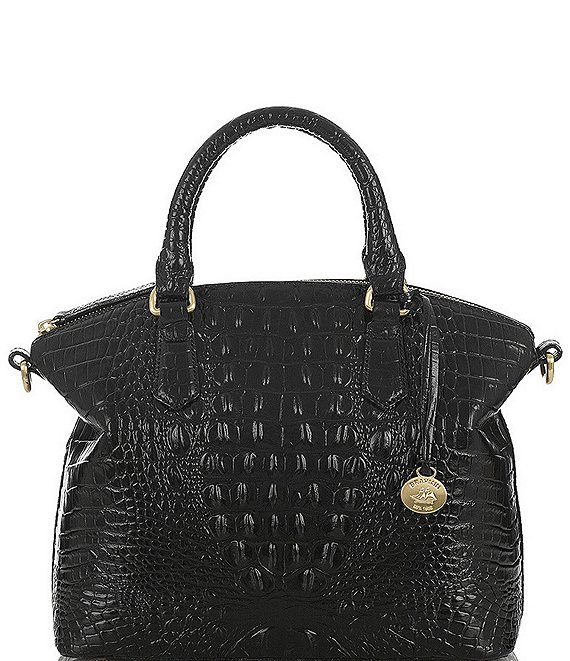 Color:Black - Image 1 - Melbourne Collection Duxbury Leather Crocodile-Embossed Satchel Bag