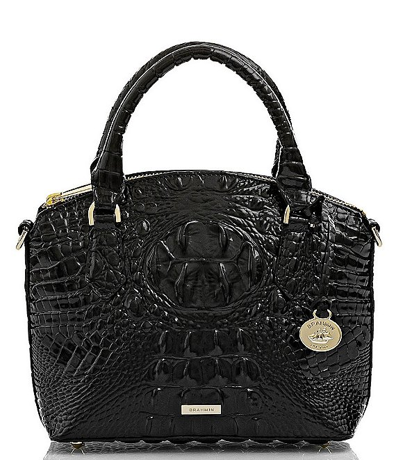 Color:Black - Image 1 - Melbourne Collection Duxie Crocodile-Embossed Crossbody
