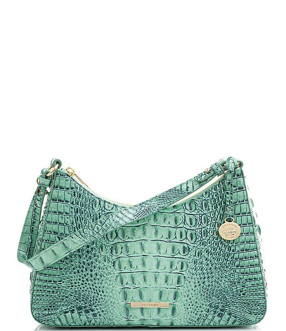 Color:Biscay - Image 1 - Melbourne Collection Esme Crocodile-Embossed Leather Shoulder Bag