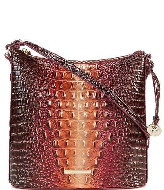 Color:Sunset - Image 1 - Melbourne Collection Katie Crocodile-Embossed Crossbody Bag