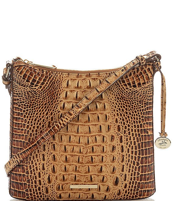 Color:Toasted Almond - Image 1 - Melbourne Collection Katie Crocodile-Embossed Crossbody Bag