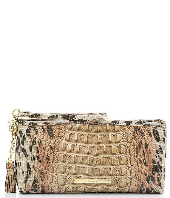 Color:Prowl - Image 1 - Melbourne Collection Kayla Crocodile-Embossed Animal Print Wristlet