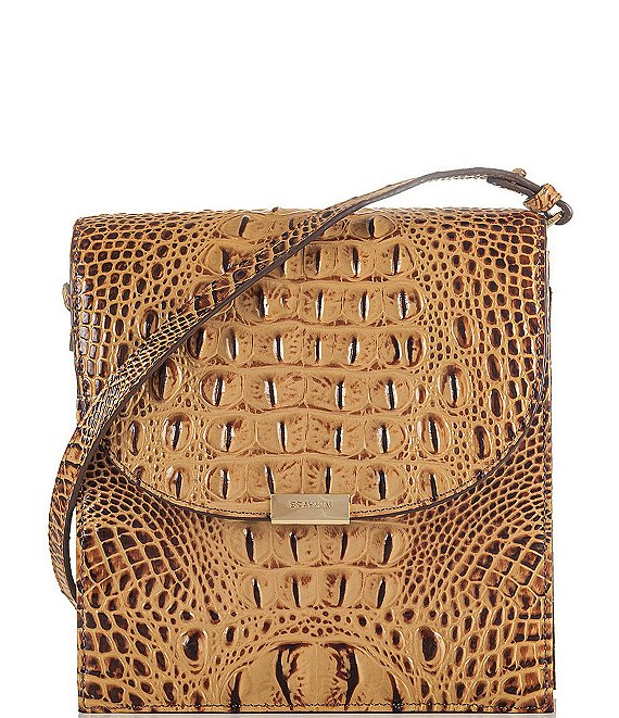 BRAHMIN Melbourne Collection Kimmie Crocodile-Embossed Crossbody Bag