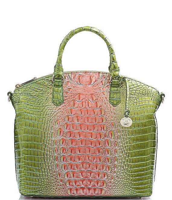 Color:Watermelon - Image 1 - Melbourne Collection Large Crocodile-Embossed Duxbury Satchel Bag