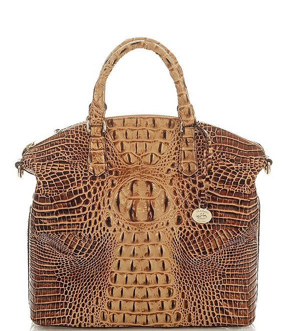 Color:Toasted Almond - Image 1 - Melbourne Collection Large Crocodile-Embossed Duxbury Satchel Bag