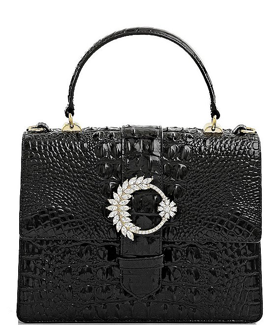 Color:Black - Image 1 - Melbourne Collection Luxe Mini Francine Crocodile-Embossed Embellished Buckle Satchel Bag