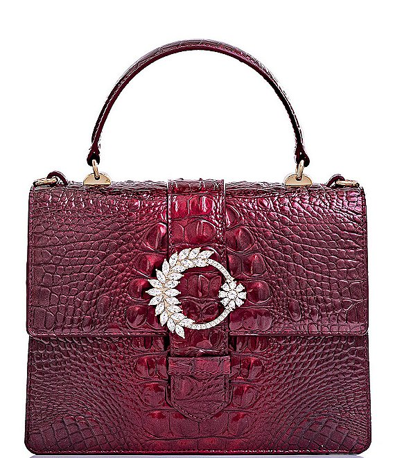 Color:Infrared - Image 1 - Melbourne Collection Luxe Mini Francine Crocodile-Embossed Embellished Buckle Satchel Bag
