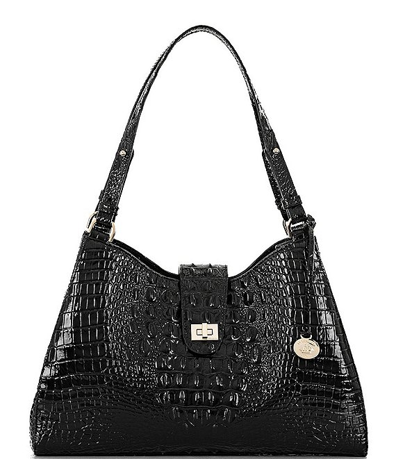 Color:Black - Image 1 - Melbourne Collection Madelyn Crocodile-Embossed Shoulder Bag
