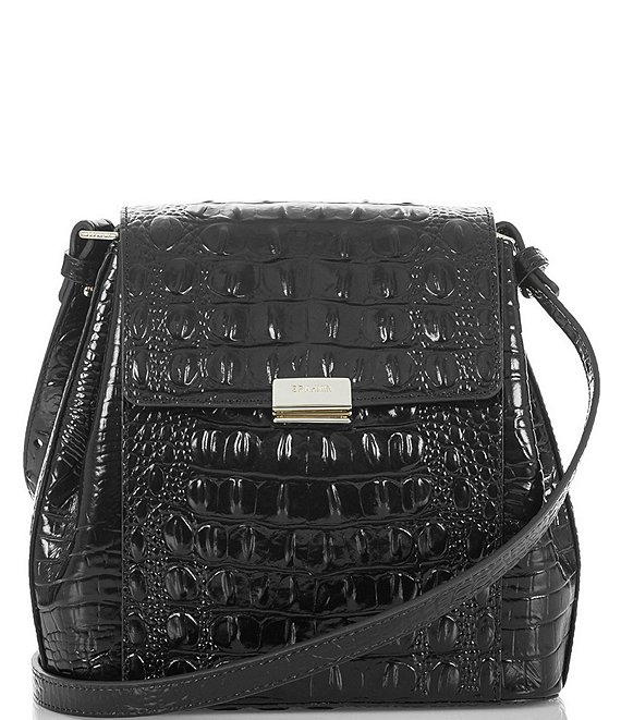 Color:Black - Image 1 - Melbourne Collection Margo Crocodile-Embossed Crossbody Bag