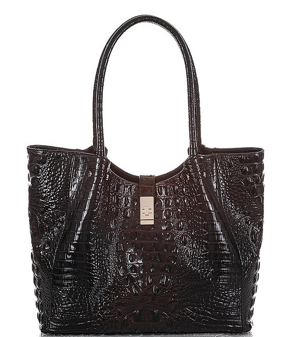 Color:Cocoa - Image 1 - Melbourne Collection Medium Crocodile-Embossed Mallory Tote Bag