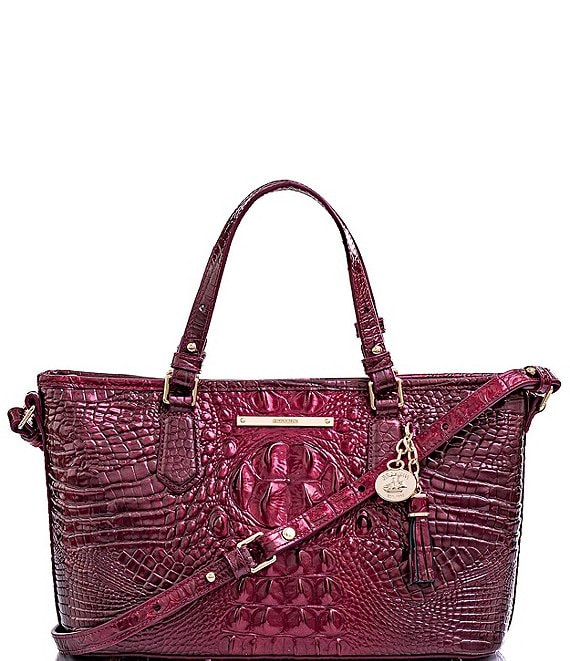 Color:Infrared - Image 1 - Melbourne Collection Mini Asher Crocodile-Embossed Tasseled Tote Bag