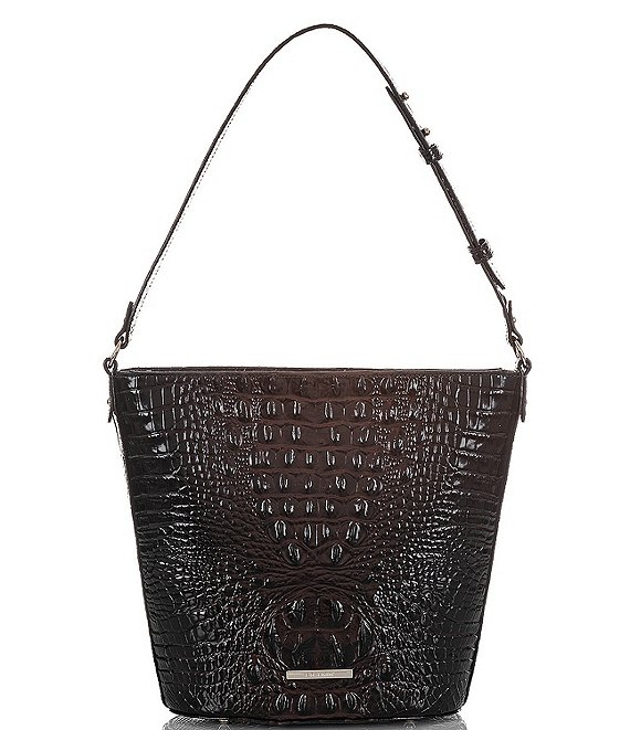 Color:Cocoa - Image 1 - Melbourne Collection Crocodile-Embossed Quinn Bucket Bag