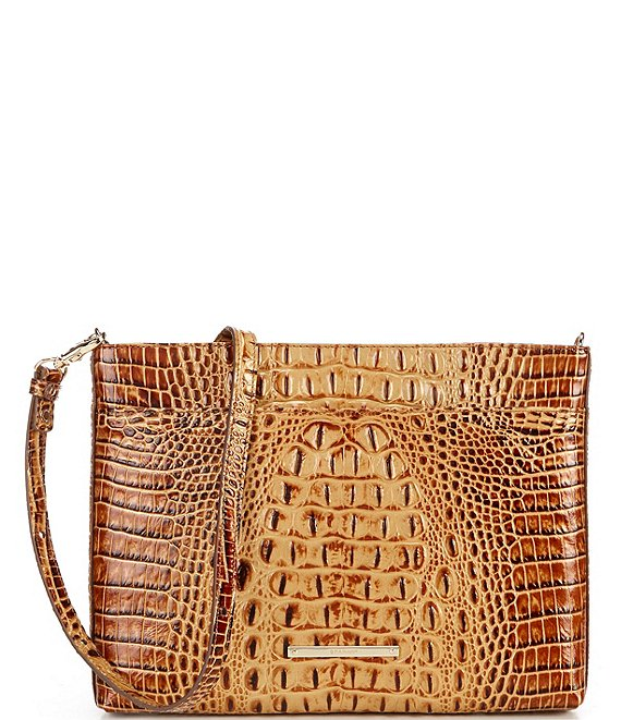 Color:Toasted - Image 1 - Melbourne Collection Remy Crocodile-Embossed Leather Zip Top Crossbody Bag