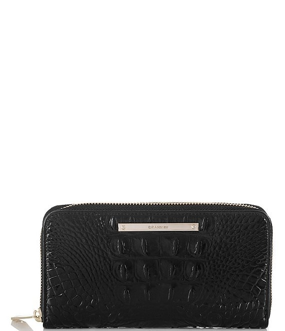 Color:Black - Image 1 - Melbourne Collection Suri Crocodile-Embossed Wallet