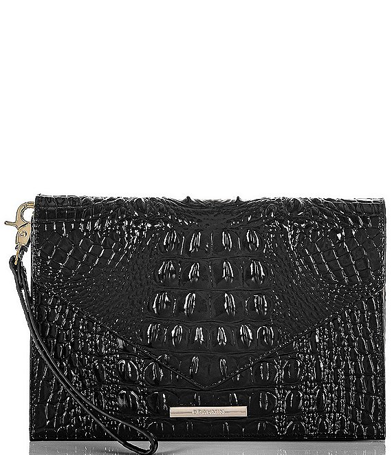 Color:Black - Image 1 - Melbourne Collecton Sara Crocodile-Embossed Clutch Bag