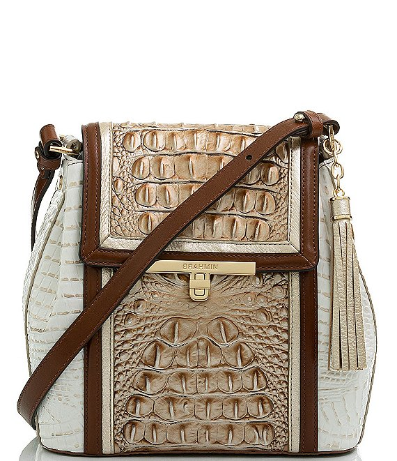 Color:Cappuccino - Image 1 - Shoreham Collection Margo Crocodile-Embossed Leather Crossbody Bag
