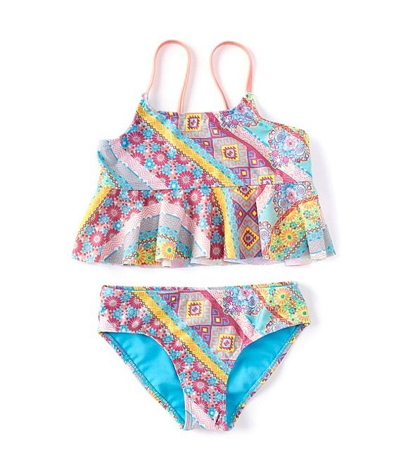Color:Multi - Image 1 - Big Girls 7-16 Beach Bohemian Two-Piece Swimsuit