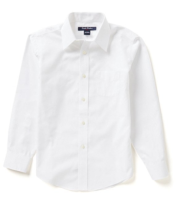 Color:White - Image 1 - Little/Big Boys 4-20 Mini Oxford Non-Iron Point Collar Dress Shirt
