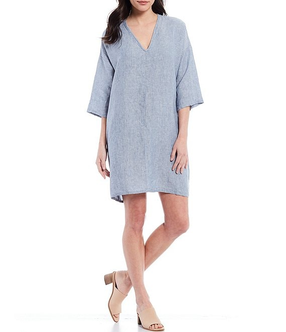 Color:Lucca - Image 1 - Bingley Cross-Dyed Linen V-Neck Dress