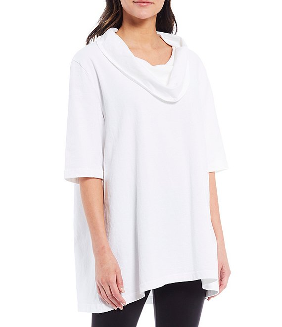 Color:White - Image 1 - Enola Cotton Jersey Elbow Sleeve Cowl Neck Tunic