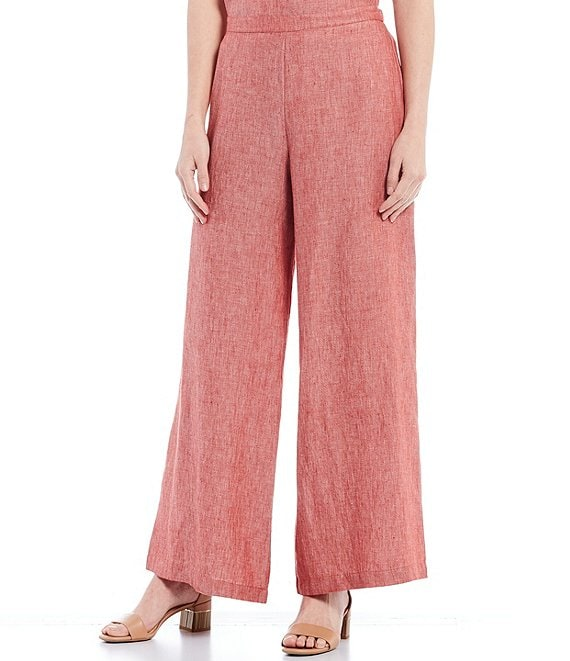 Color:Modena - Image 1 - Full Cross-Dyed Linen Long Pants