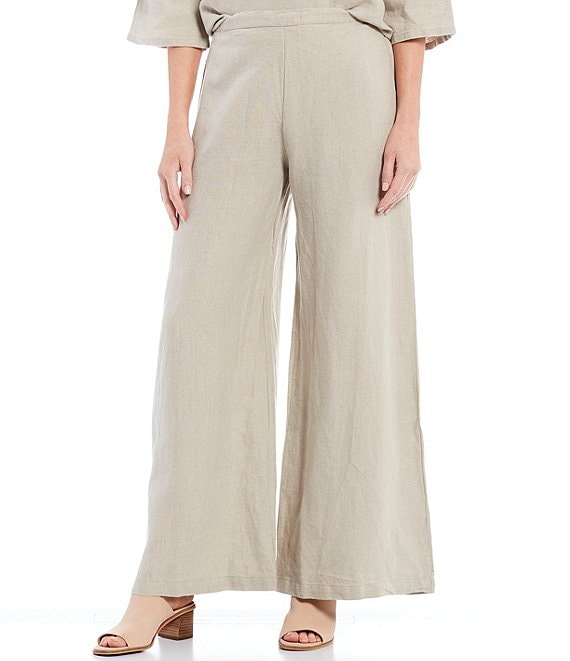Color:Natural - Image 1 - Linen Wide Leg Long Full Pants