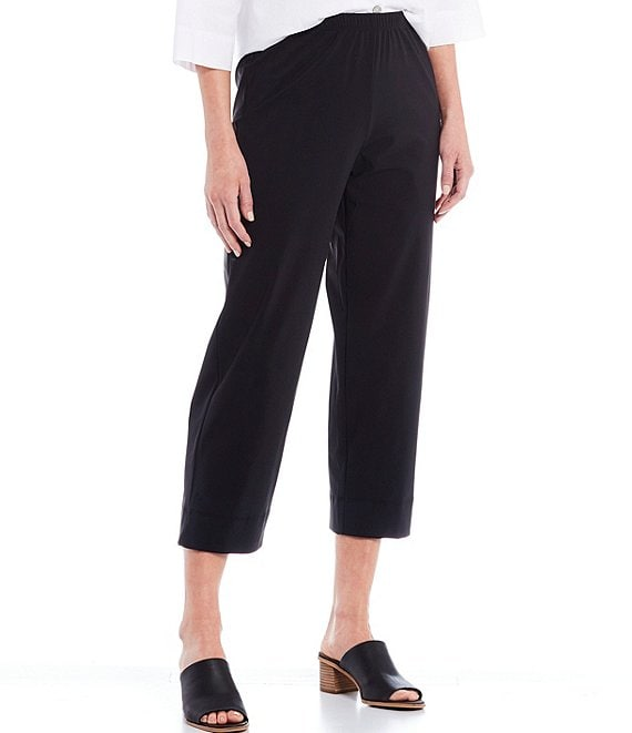 Color:Black - Image 1 - Microfiber Jersey Straight Ankle Pants