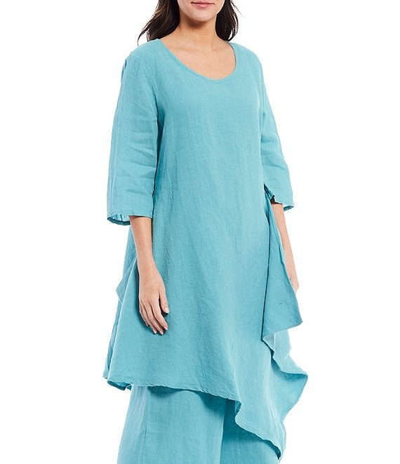 Color:Fairywren - Image 1 - Naida Light Linen Asymmetric Hem Tunic