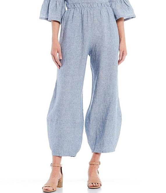 Color:Lucca - Image 1 - Oliver Cross-Dyed Linen Ankle Lantern Pants