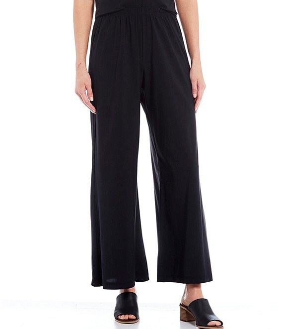 Color:Black - Image 1 - Osca Microfiber Jersey Wide Leg Pull-On Pants