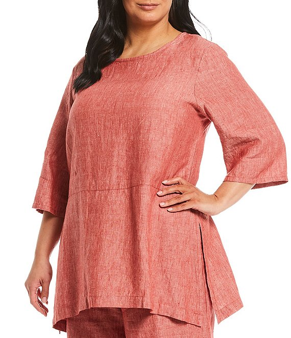 Color:Modena - Image 1 - Plus Size Bre Round Neck Cross-Dyed Linen Tunic