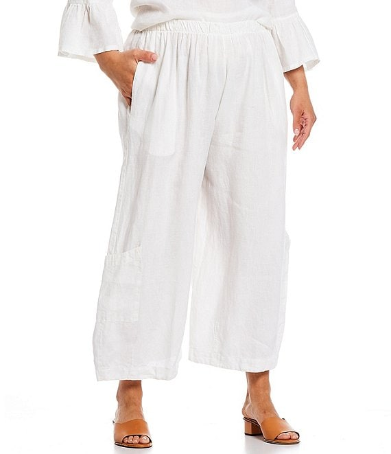 Color:White - Image 1 - Plus Size Casbah Light Linen Cropped Lantern Pull-On Pants