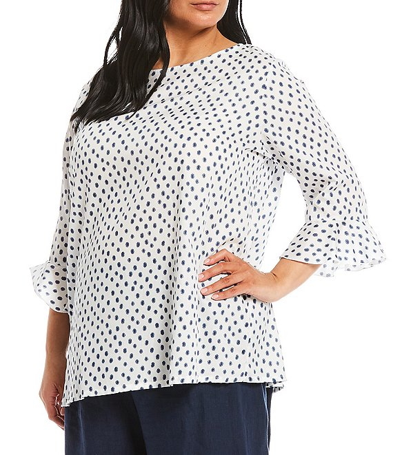Color:White - Image 1 - Plus Size Chiara 3/4 Ruffle Sleeve Cotton Dotted Blouse