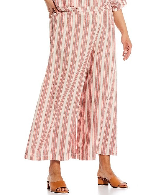 Color:Roussillon - Image 1 - Plus Size Ella Stripe Light Linen Flat Front Wide Leg Pull-On Pants