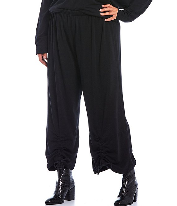 Color:Black - Image 1 - Plus Size Ruched Cropped Pants