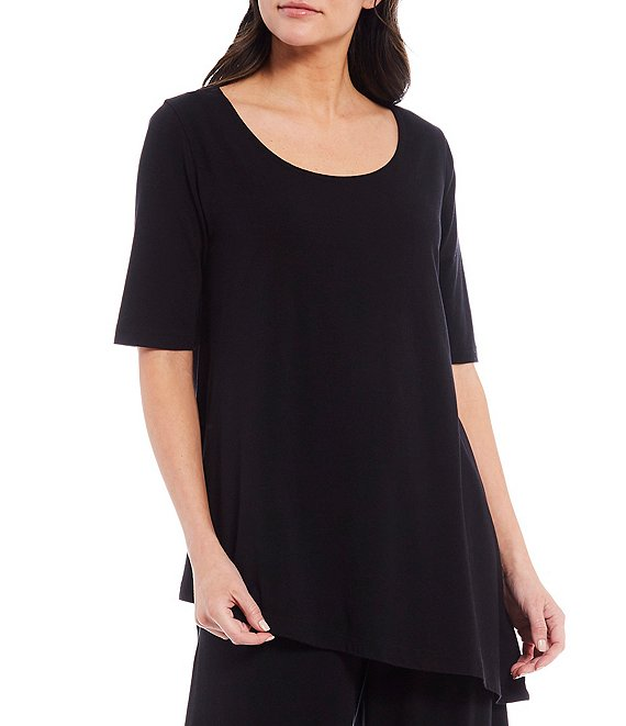 Color:Black - Image 1 - Una Organic Bamboo Cotton Round Neck Asymmetrical Hem Tunic