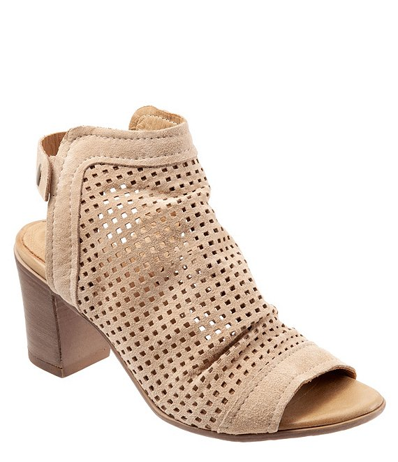 Color:Camel Brushed Leather - Image 1 - Udo Perforated Brushed Leather Slingback Sandals