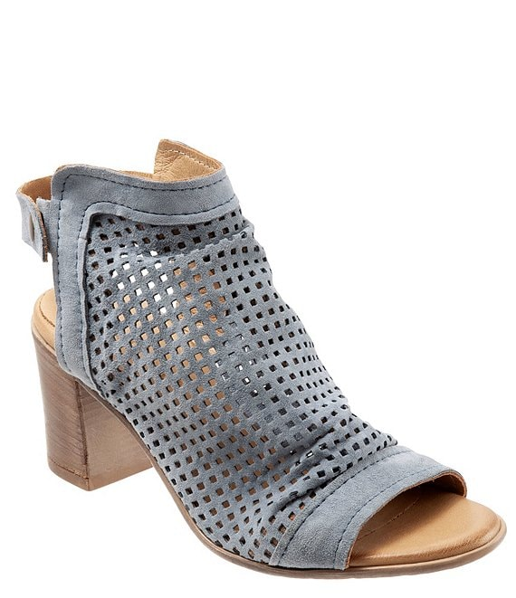 Color:Denim Suede - Image 1 - Udo Perforated Suede Slingback Sandals