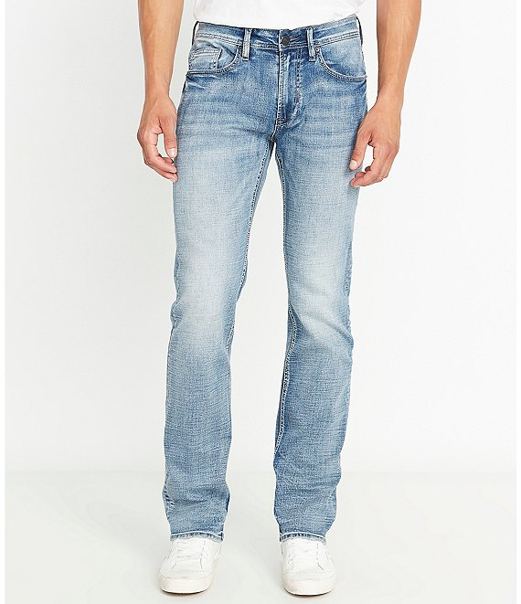 Color:Indigo - Image 1 - Driven-X Light Wash Relaxed Straight Jeans